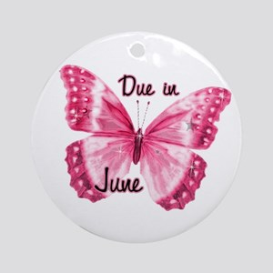 Due June Sparkle Butterfly Ornament (Round)