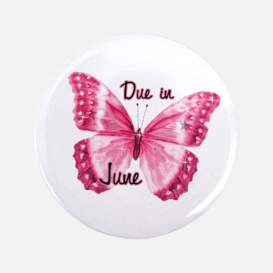 "Due June Sparkle Butterfly 3.5"" Button"