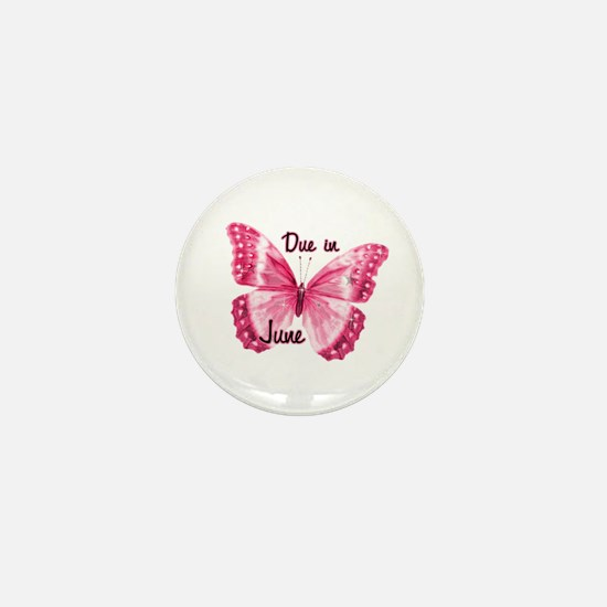 Due June Sparkle Butterfly Mini Button