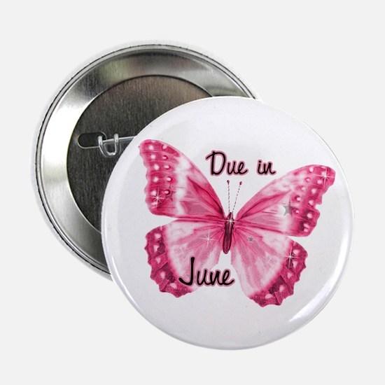 "Due June Sparkle Butterfly 2.25"" Button"