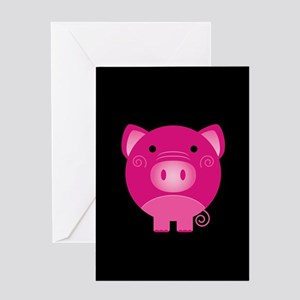 Pink Pig Greeting Card