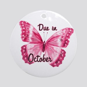 Due October Sparkle Butterfly Ornament (Round)