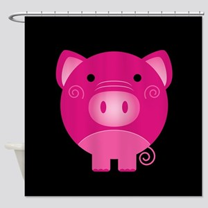 Pink Pig Shower Curtain