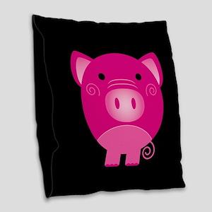 Pink Pig Burlap Throw Pillow