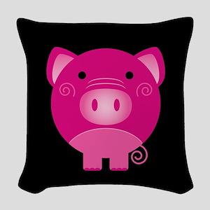 Pink Pig Woven Throw Pillow