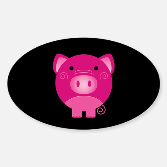 Pink Pig Sticker (Oval)
