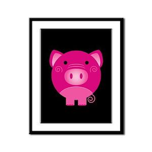 Pink Pig Framed Panel Print