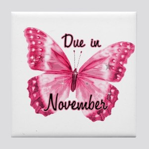 Due November Sparkle Butterfly Tile Coaster
