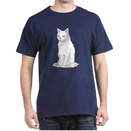 Odd Eyed White Cat Dark T Shirt