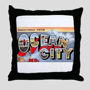 Ocean City Maryland Greetings Throw Pillow