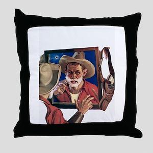 Shaving Cowboy Throw Pillow