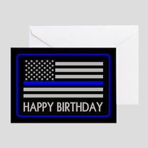 Police: Happy Birthday (Thin Blue Li Greeting Card