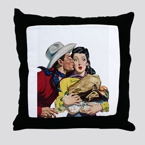 Kissing Cowboy Throw Pillow