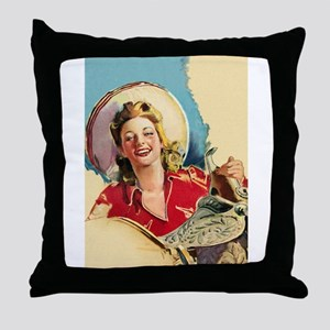Hot Cowgirl Throw Pillow