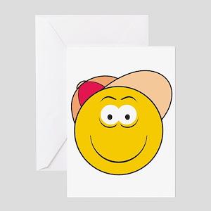 Baseball Hat Smiley Face Greeting Card