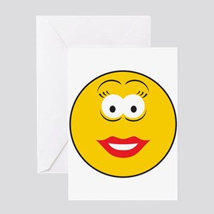 Red Lipstick Smiley Face Greeting Card