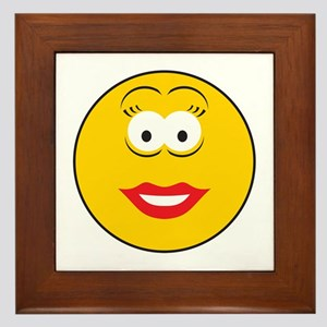 Red Lipstick Smiley Face Framed Tile