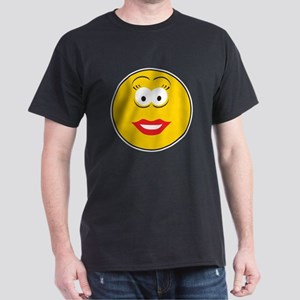 Red Lipstick Smiley Face Dark T-Shirt