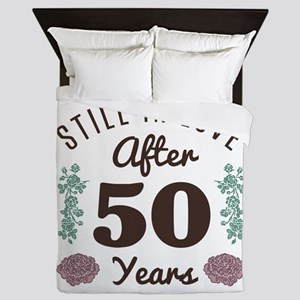 Cute 50th Anniversary Queen Duvet