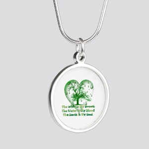 Earth Connection Silver Round Necklace
