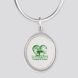 Earth Connection Silver Oval Necklace
