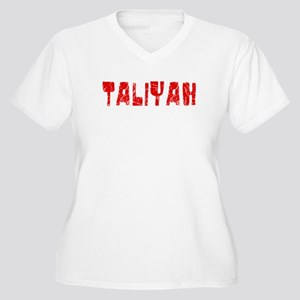 Taliyah Faded (Red) Women's Plus Size V-Neck T-Shi