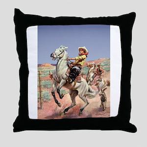 Bucking Horse Throw Pillow