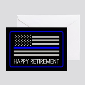 Retired cop greeting cards cafepress police happy retirement thin blue greeting card m4hsunfo