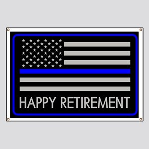 Police: Happy Retirement (Thin Blue Line) Banner