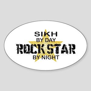 Sikh Rock Star by Night Oval Sticker