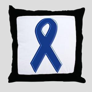 Dk Blue Awareness Ribbon Throw Pillow