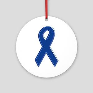 Dk Blue Awareness Ribbon Ornament (Round)