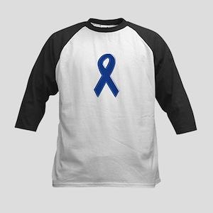 Dk Blue Awareness Ribbon Kids Baseball Jersey
