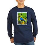 Indigo Bunting Long Sleeve Dark T-Shirt