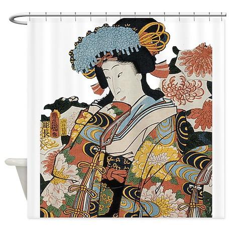 Vintage Kimono Japanese Geisha Shower Curtain By ADMIN CP132010695