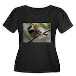 Chickadee Women's Plus Size Scoop Neck Dark T-Shir