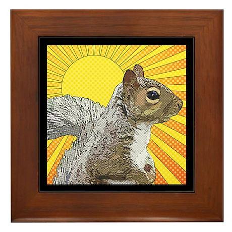 Pop Art Squirrel Framed Tile