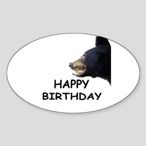 HAPPY BIRTHDAY BEAR Oval Sticker
