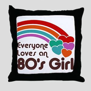 80's Girl Throw Pillow