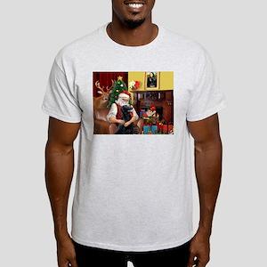 Santa's Flat Coated Retriever Ash Grey T-Shirt