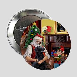 Santa's Flat Coated Retriever Button
