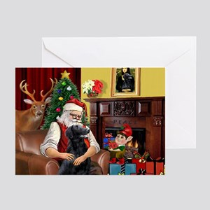 Santa's Flat Coated Retriever Greeting Cards (Pack