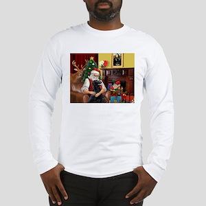 Santa's Flat Coated Retriever Long Sleeve T-Shirt