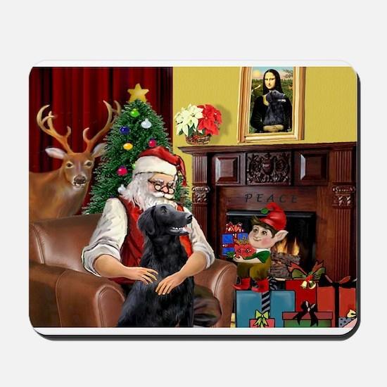 Santa's Flat Coated Retriever Mousepad