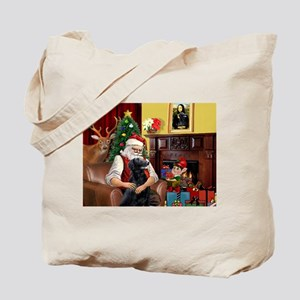 Santa's Flat Coated Retriever Tote Bag