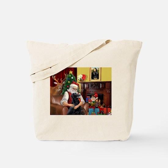 Santa's Flat Coated Retriever Tote Bag