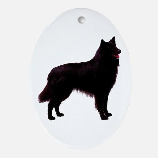 Black Belgian Shepherd Oval Ornament