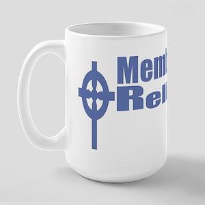 Religious Left/CeltCross/Blue text Large Mug