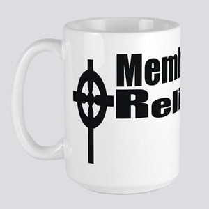 Religious Left Celtic Cross/Black Text Large Mug