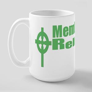 Religious Left/Celt Cross/Green text Large Mug